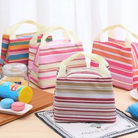 Drink Food Thermal Insulated Cooler Tote Bag Stripe Picnic Lunch Bags Outdoor Portable Bento Box Carry Handbags Waterproof BH4763 TQQ