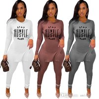 Women Tracksuits Rib Two Piece Set Deisgner Pink Color Outfits Casual Knit Letter Printed Tshirt Solid Long Sleeve Pants Fall 2021 Women Clothes