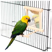 1 ADET Ahşap Pet Kuşlar Oyuncaklar Ayna ile Eğlenceli Oyuncak Cockatiel Papağan Için Küçük Kuşlar Oyuncaklar Pet Papağan Kafes Kuş Stand Tırmanma