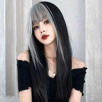 Новый парик женская длинная мода градиент целых верхних волос сеть красных воздушных ударов полная головка