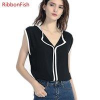 Kadın Bluzlar Gömlek Şerit Balıkları Kadın Yaz Tarzı Şifon Lady Kızlar Kolsuz V Yaka Casual Blusas DF2022