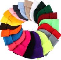 US Stock Solid Unisex Beanie Autumn Winter Wool Blends Soft Warm Knitted Cap Men Women SkullCap Hats Gorro Ski Caps 23 Colors Beanies DD