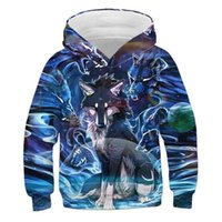 Hoodies & Sweatshirts Kids Boys Girls Long Sleeve 3D Graphic Cartoon Funny Wolf Printed Hoodie Sweatshirt Winter Casual Pullover Jumper Swea