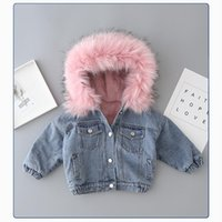 Jackets LZH 2021 Autumn Winter Thickening Clothing For Girls Coat Hooded Kid Denim Jacket Boys Costume Long Sleeve Fur 1-6Y