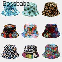 Femmes Hommes Harajuku Fleur Contraste Chapeau de godet coloré Réversible Emballable Bord de soleil Packable Sun Visor Hip Hop Coton Coton Cap 815