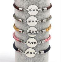 Titanium Steel Mamá colgante pulseras 4mm tejido de cuero genuino pulsera pulsera pulseras para mujeres regalo de joyería para el día de la madre