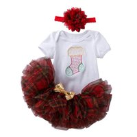Christmas Baby Girls Outfits Newborn Clothing Sets Infant Clothes Short Sleeve Romper Tutu Skirt Embroidered Flower Headbands 3Pcs B8475