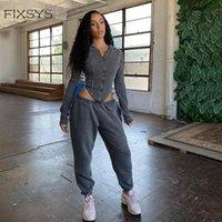 Kadın İki Parçalı Pantolon DüzeltmeSys Pamuk Katı Eşleştirme Setleri 2021 Sonbahar Tam Kollu Fermuar Tops + Pantolon Kıyafetler Moda Fitness Rahat Set Kadınlar