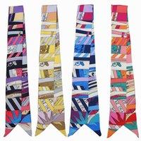 Scarves Leaves Print Skinny Scarf Women Multi-function Bag Silk Fashion Head Band Ties Wrist Towel For Ladies