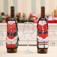 Red Wine Bottle Cover Beer Bottles Champagne Covers Christmas Party Table Decor Mini Xmas Festival Apron Santa Gift Packing Decora HHA8645