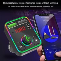 Car Phone Chargers Adapter F3 Universal Bluetooth Wireless Handsfree FM Transmitter Audio MP3 Music Player Dual USB PD 3.1A Quick Charge With Colorful LED Backlight
