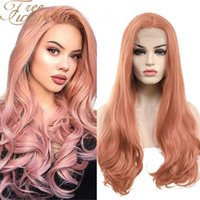 FREEWOMAN Synthetic Lace Front For Women 24 Inch Wavy s Fake Hair Extension Heat Resistant Purple Pink Blonde Cosplay Wig