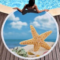 Towel Beach Seaside Microfiber Soft Round Tassel Yoga Mat Printed Serviette 150cm Bath Summer YW