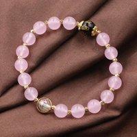 """Charm Bransoletki Charms Bransoletka Biżuteria Handmade Różowe Jade Naturalne Kamienne Koraliki Strand Wrap Bangle Dla Kobiet Nadgarstek Prezenty 7.5 """"B309"""