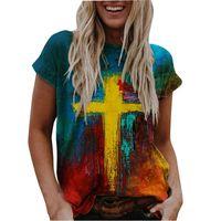 Женская футболка Летняя Женская Мода Путасты Масляные Живопись Вера крест Печатная красочная ткань Случайный темперамент Элегантный Свободный Уютный T S