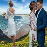 Lace Beach Summer Wedding Dress 2021 Sheath Short V-neck Custom Made Long Sleeves Bridal Dresses