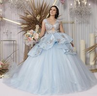 Light Blue Quinceanera Dresses 2021 Sheer V Neck Tulle Bow Tiered Appliques Sequins Princess Sweet 16 Prom Gown Vestidos De 15 Años Masquerade Dress