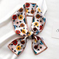 Bufandas 15 colores moda cinta seda bufanda mujer sol floral cuello largo delgado oficina señora chales bandana hijab bolso vestido