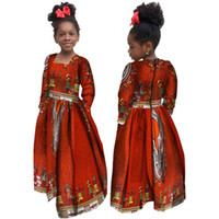 African Automne Girl Robe Enfants Dashiki Dashiki Coton traditionnel Robes à manches longues assorties Afrique Imprimer Fille Robe naturelle WYT61
