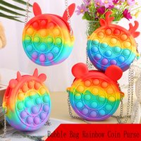 Didget Toys Хэллоуин Push Bubble Bag Rainbow Coin Coinse Silicone Messenger Music Нажмите Unzip Toy