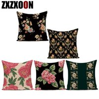 Cushion Decorative Pillow Cotton Linen Colorful Red Pink Flower Decorative Pillows Cover Case Sofa Cushion For Home Decoration Bedroom