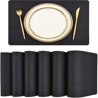 Table de table de table Tapis de table Tapis de table Faux Pu en cuir Plate-tête de tache à taches étanches