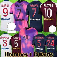 Maillots 2020 2021 MBAPPE رابع لكرة القدم جيرسي إيكارد فيراتي أطفال ماركينهوس أطقم كرة القدم الرابع لكرة القدم