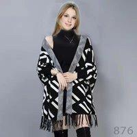 Capeaux de mode pour femmes Pull de pull style Cape de laine Cape Cape enveloppe Poncho manteau à manches longues automne hiver collier de femmes châle vestes tricotées imprimées