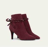 Lüks tasarlanmış cate botları kadınlar için, bayanlar kırmızı alt taban ayak bileği çizmeler zincirler paltform topuklular adox eloise ganimet kış marka botu