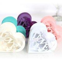 10pcs Love Heart Coeur Laser Coupe Carrelle Caille Cadeaux Cadeaux Candy Drage Boîte avec ruban Baby Douche Baptism Fournitures de fête de mariage