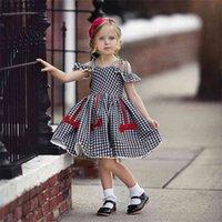 Anderen Mädchen Kleider Mode Baby Kinder Mädchen Kurzarm Schulterfrei A-line Plaid Princess Kleid Kinder Casual Beach 210802