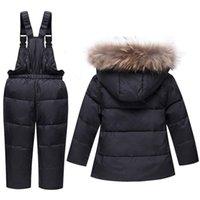 Children Winter Suits Boys Girls Duck Down Jacket Bib Pants 2 Pcs Clothing Set Thermal Kids Warm Thicker Coat Snow Wear Parka