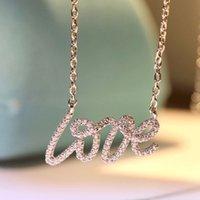 Joyas de lujo 1: 1 Logo de alta calidad TIF clásico brillante letra amor collar moda marca de moda joyería de moda collar de mujeres