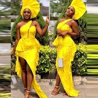 Abiti da sera nigeriani gialli luminosi per ragazze nera Peploum One Spalla Sirena Dress Prom Abito da ballo per le donne Robe Abiti ad alto basso