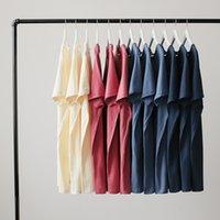 2021 New Basic Multi Color Cotton Big Big Shirt Breve Colletto rotondo Allentato Allentato Semple Simple Simple Simple-shirt per le donne F74J