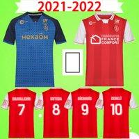 2021 2022 Stade de Reims Maillot fot 21 22 Fotbollströjor Cafaro Konan Dia Foket Chavalerin Zeneli Vuxen Mens Fotbollskjorta S-2XL Top Thai Quality
