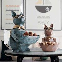 Gato Perro Figuras Resina Moderna Artesanía Animales Miniatura Adornos lindos para el hogar Decoración de la oficina Tazón de almacenamiento tallado Colección 210607