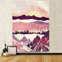 태피스트리 simsant 핑크 산 태피스 트리 자연 풍경 일몰 아트 벽 거실에 매달려 홈 기숙사 장식