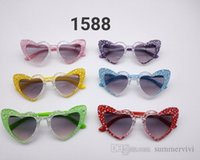 Children transparent love heart sunglasses girls boys candy color frame UV protection goggles kids beach holiday glasses Q1071