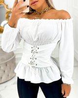 Women's Blouses & Shirts 2021 Solid Ruffles Corset Blouse Female Tunics Summer Women Plain Eyelet Lace-up Off Shoulder Frill Hem Top