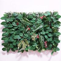 1pc 40 * 60cm 인공 잔디 식물 벽 패널 가짜 잔디 잎 울타리 인공 단풍 가정 정원 벽 장식 녹지