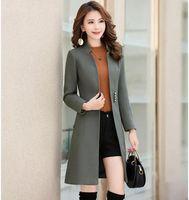 Manchas de lã femininas Design Slim longas casacos de trincheira trincheira de moda moda roupas de inverno