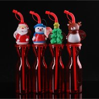 Christmas Gift Santa Bottle Mugs Kid Straw Cup with Cartoon Animal Head Lid Clear Plastic Dolphin Fish Drink Cups Cute Birthday Present for Baby