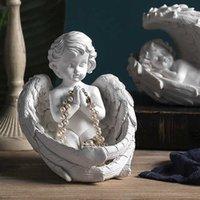 Европейские крылья ангел девушки смолы статуя украшения дома гостиная настольные фигурки украшения магазин магазина скульптуры