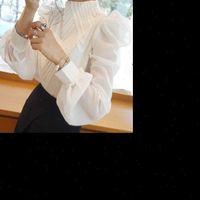 Новые 2021 Весна Осень Осень Женщины Стенд Стенд Воротник Шифон Блузки Офисные Дамы Топы Рубашки Плюс Размер 2XL!