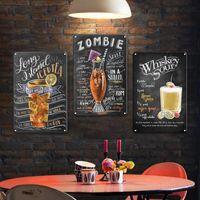 Vintage Cocktail Metal Signe Cuisine Bar Accessoires Decor Tin Signes Shabby Chic Man Cave Club Affiche Plaque décorative Q0723