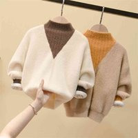 4T-14T fall winter teenage boy girl kid thick Knitted turtleneck cardigan clothes warm shirts color pullover sweaters 210914