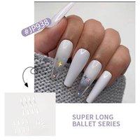 Yanlış Çiviler Sahte Uzun Tırnak Uzatma Pembe Bulut Rengi Şeffaf Beyaz Yıldız Glitter Manikür Yama Nail Art