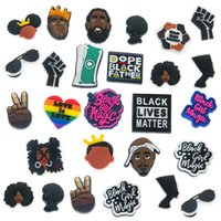 Wholesale PVC cartoon black live matters charms Custom designer for hole shoe