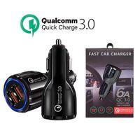 QC3.0 CE FCC ROHS 인증 빠른 충전 듀얼 2 USB 포트 빠른 자동차 충전기 iPhone Samsung Huawei Xiaomi LG 패키지